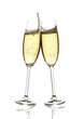 two glasses of sparkling wine clinking