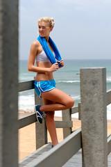 Pretty blond girl in sports attire