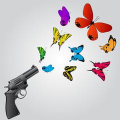 Butterflies and gun
