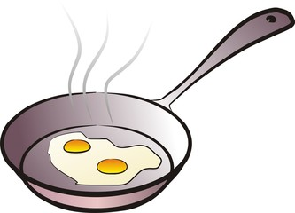 pan with the fried eggs isolated illustration