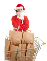 calling man in Santa clothes, bags in shopping cart