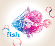 The colorful fish with bubbles on a beige background