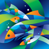 Abstract fishes in the depths of the ocean - 27873150