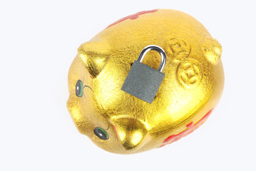 Piggy bank and padlock