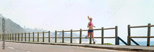 Panoramic runner on beach