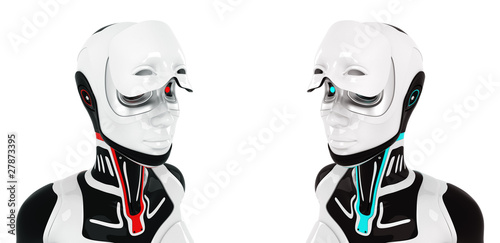 Surreal stylish robots with opened visor