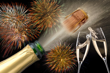 Neujahr Champagner Sekt