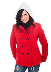 beautiful woman in grey hood and red atumn jacket