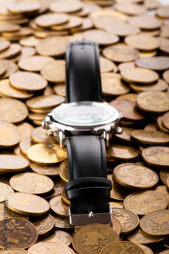 Deurstickers Retro Time is money concept with watch and coins.