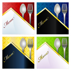 Restaurant menu with fork and spoon and space for text