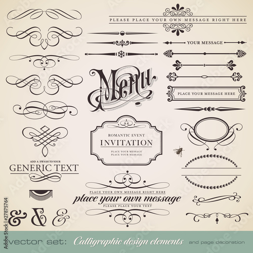 vector set: calligraphic elements and page decoration - 27875764