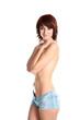 half nude girl isolated