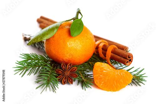 Mandarin orange, cinnamon, anise and tree branch isolated on whi