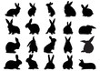 Set of black silhouettes of rabbits isolated on white