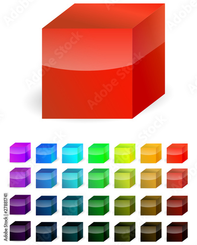 red plastic cube isolated on white