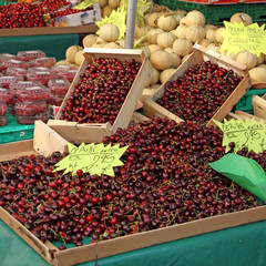Ripe Cherries on a French Market Stall