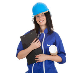 lady architect in helmet holding clipboard and blueprint