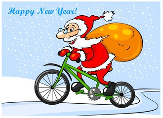 Happy Santa Claus is riding on a bike.