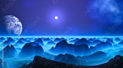 Fototapeten,mond,planentarium,nacht,berg