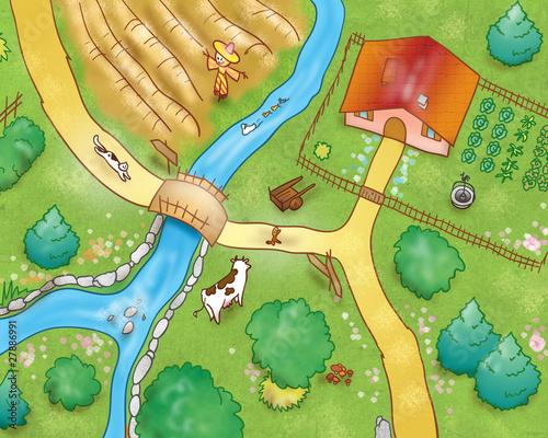 Vista aerea: campagna con animali e fattoria