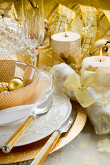 luxury gold xmas table-tavola natalizia dorata