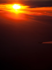 Airliner and sunset