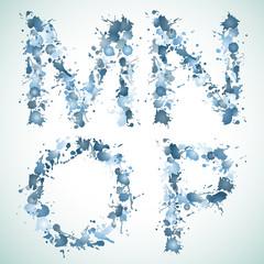 alphabet water drop MNOP