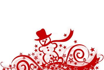 Weihnachtliche Dekoration mit Schneemann, rot
