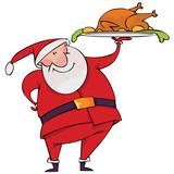Fototapety Santa with Christmas turkey
