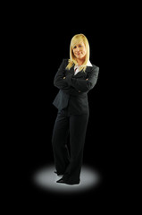 Business woman on black