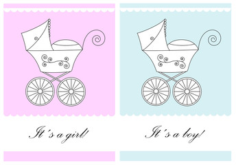 Set of baby announcement