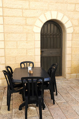 Empty Street Cafe in Jerusalem