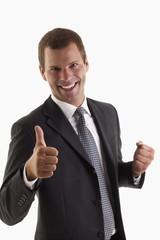 Man signing thumbs up