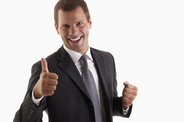 Man signing thumbs up
