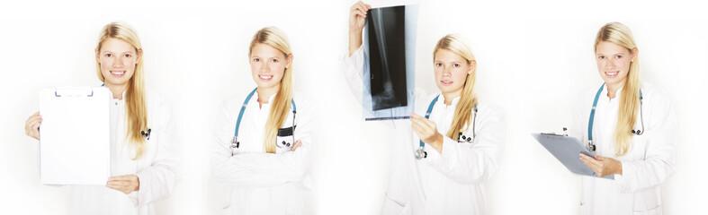 Ärztin mit Röntgenbild Collage