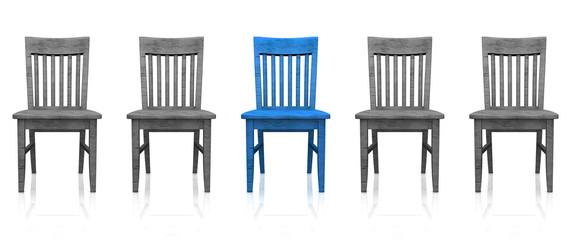 3D Stuhlreihe - Blau grau