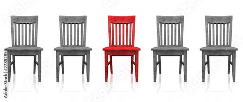 3D Stuhlreihe - Rot grau