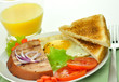 grilled ham with egg ,toasts ,vegetables and orange juice