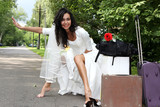 Runaway Bride hitch-hiking at the road poster