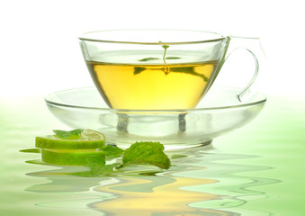 glass cup of green tea with lemon and mint