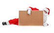 Santa claus and empty bulletin board