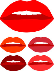 kiss lips color vector with white teeth