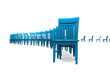 3D Stuhlreihe - Blau 06