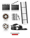 set of objects for cinematography clapper and film tape