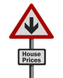 Photo realistic 'house price fall' sign, isolated on white