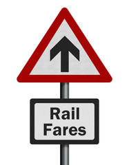 Photo realistic 'rail fares increase' sign, isolated on white