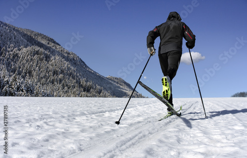 Mid adult man cross-country skiing in Allgau,  Bavaria,  Germany