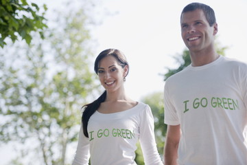 Couple with 'I go green' shirts