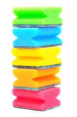 tower of colorful sponges