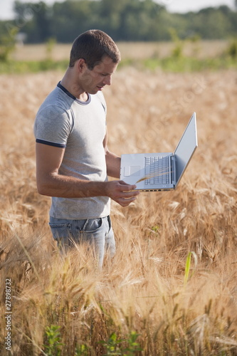 Man with laptop computer in wheat field